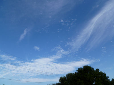 Cirrus clouds indicate a weather change in 24 hours.