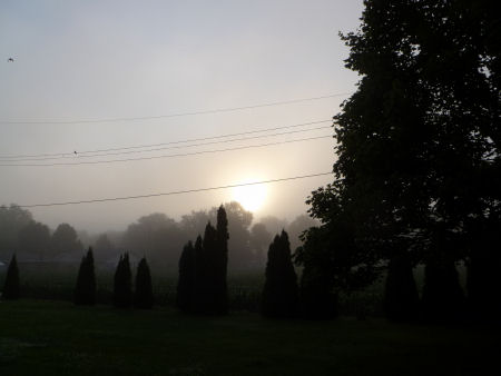 Fog blankets the eastern sky over Central Illinois
