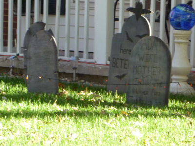 Somebody got creative with this pretend cemetery!