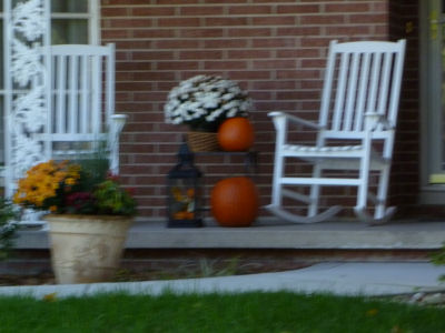 Pumpkins, mums, and rocking chairs -- what a restful scene