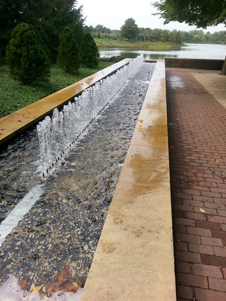 How about this l-o-n-g fountain with varying heights of water?