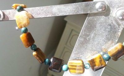 I made this bracelet with Tiger's Eye interspersed with fancy Jasper.